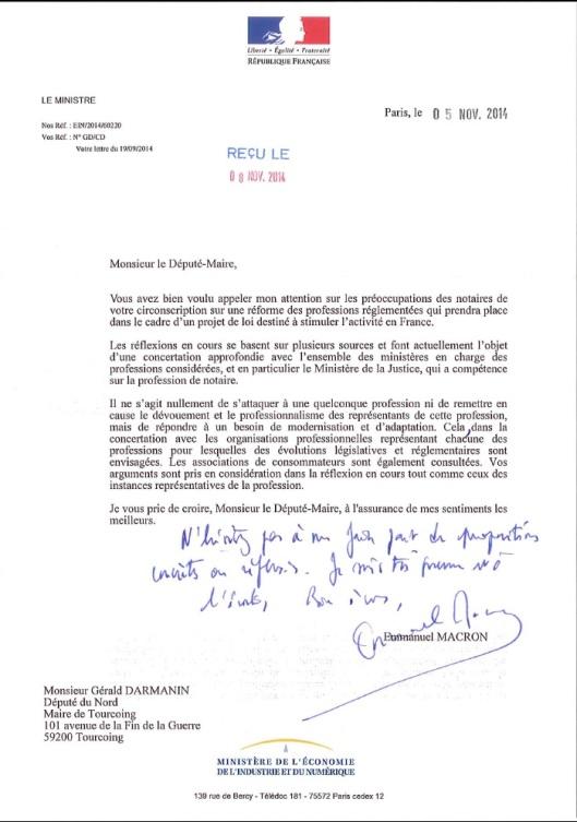 051114 Let. E. MACRON, Min. Éco, Industrie et Numérique